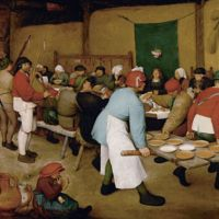 Oil on panel painted by Pieter Bruegel the Elder, titled The Peasant Wedding (c. 1567), in Kunsthistorisches Museum, Vienna.