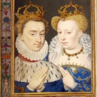 Portrait of Marguerite de Valois and Henri de Navarre from The Catherine de Medici Book of Hours (c. 1572-1575, printed c. 1900) from The British Museum.