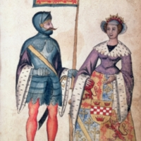 Robert the Bruce and his first wife, Isabella of Mar, daughter of Donald, 10th Earl of Mar,