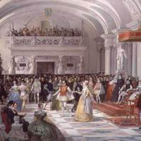 The Wedding of Henri de Bourbon King of Navarre to Marguerite de Valois in the presence of Catherine de Medici and Charles IX in 1572 (1862) from a private collection